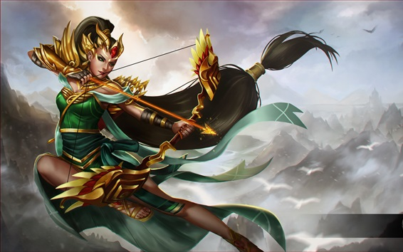 Wallpaper Heroes of Newerth, archer, girl, arrows, bow