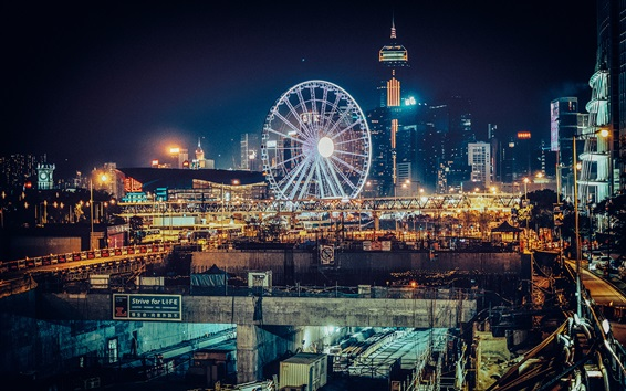 Wallpaper Hong Kong, Ferris wheel, city night, lights