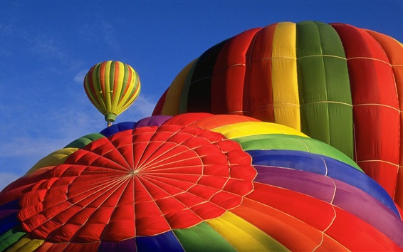 Wallpaper Hot air balloon, top view, colorful