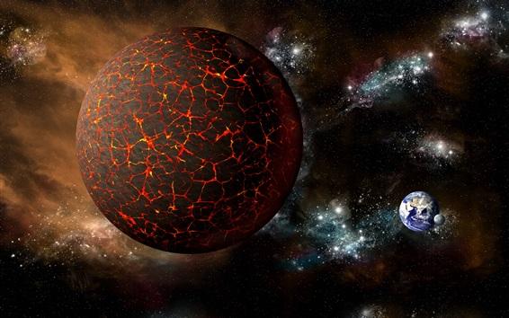 Wallpaper Hot planet, fire, space, earth, moon
