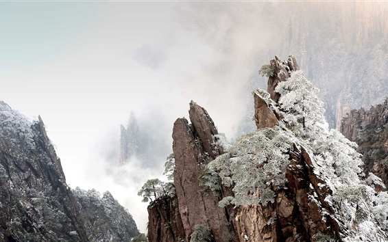 Hintergrundbilder Huangshan, China, Berge, Nebel, Winter, Morgendämmerung