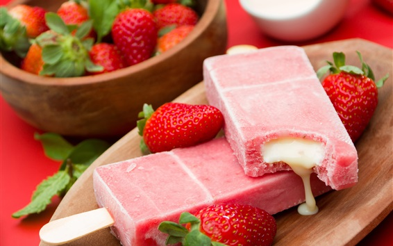 Wallpaper Ice cream, strawberries, dessert