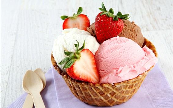 Wallpaper Ice cream, strawberry, dessert
