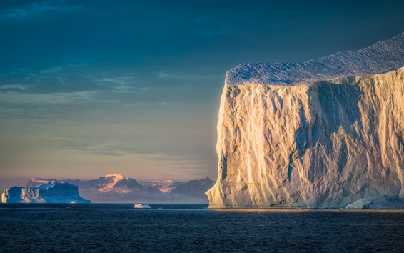 Wallpaper Iceberg, sea, morning