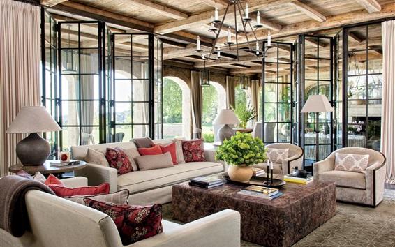 Wallpaper Interior, furniture, live room, sofa, windows