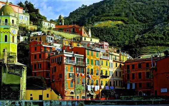 Papéis de Parede Itália, Cinque Terre, Ligúria, casas, edifícios