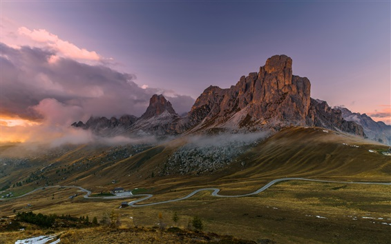 Wallpaper Italy, Dolomites, mountains, road, houses, fog, clouds, morning