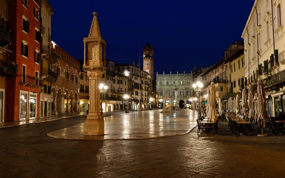 Wallpaper Italy, Verona, city, street, cafe, night, lights, houses