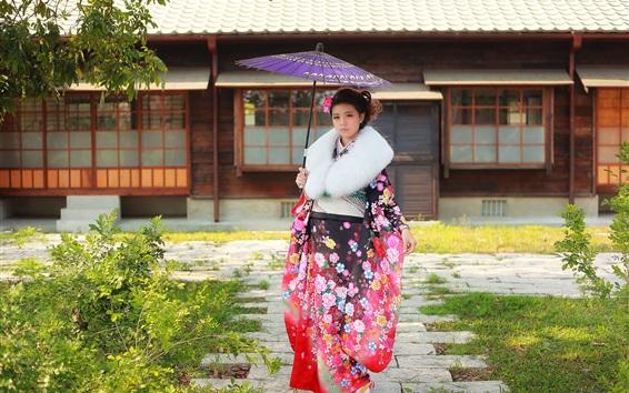 Fond d'écran Fille japonaise, kimono, parapluie