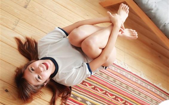 Wallpaper Joy girl, wood floor