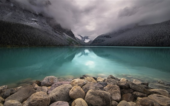 Wallpaper Lake Louise, Banff National Park, Canada, stones, mountains, clouds