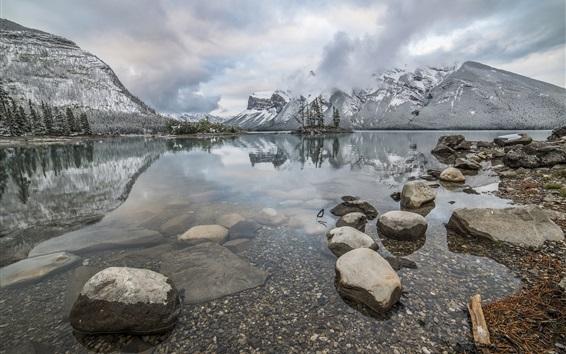Wallpaper Lake Minnewanka, mountains, stones, fog, Alberta, Canada, Banff National Park