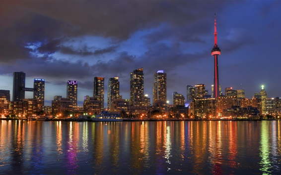 Wallpaper Lake Ontario, Toronto, Canada, city night, skyscrapers, lights