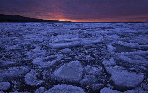 Papéis de Parede Lago, gelo, noite