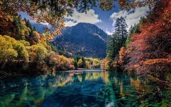 Wallpaper Lake, trees, mountains, autumn, beautiful nature