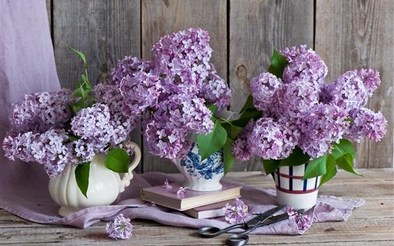 Wallpaper Lilac flowers, books, scissors