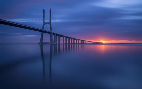 Wallpaper Lisbon, Portugal, sea, bridge, sunset
