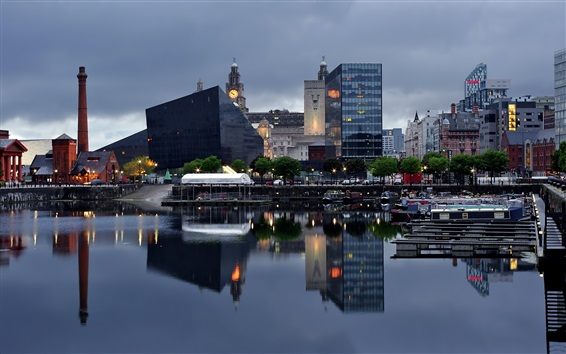 Wallpaper Liverpool, city, river, boats, pier, houses, dusk, England