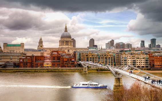 Wallpaper London, Thames, river, bridge, ship, city, buildings