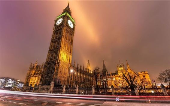 Wallpaper London, city night, road, buildings, Big Ben, lights