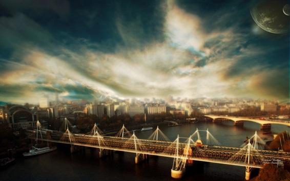 Wallpaper London, river, bridge, city, clouds, HDR style