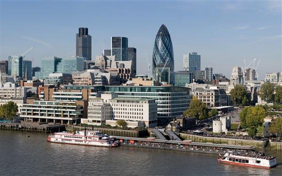 Wallpaper London, skyscrapers, buildings, river, boats