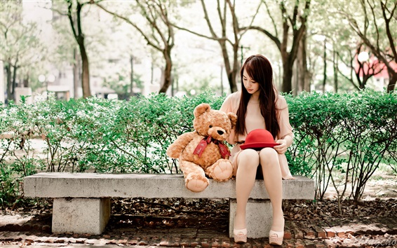 Wallpaper Long hair Asian girl, teddy bear, bench