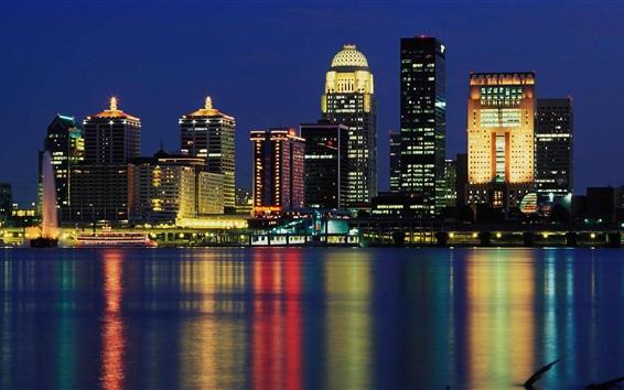 Papéis de Parede Louisville, EUA, arranha-céus, luzes, rio, cidade, noite
