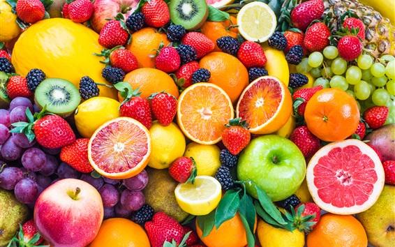 Papéis de Parede Muitos tipos de frutas, uvas, maçãs, laranjas, morangos, kiwi, pêssego