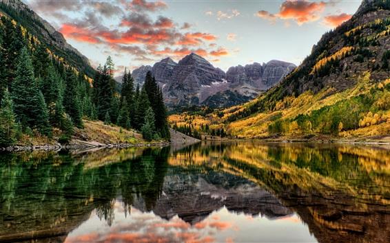 Обои Maroon Bells, горы, деревья, озеро, осень, Колорадо, США