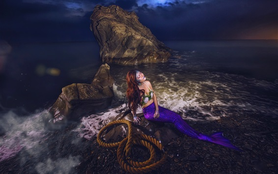 Wallpaper Mermaid, girl, rope, rocks, sea, art picture
