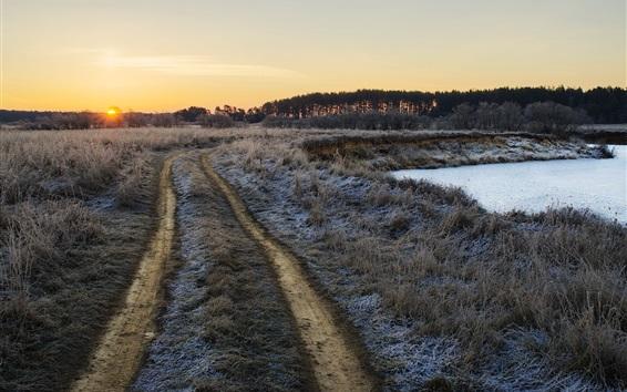 Обои Утро, трава, тропинка, пруд, мороз, восход солнца