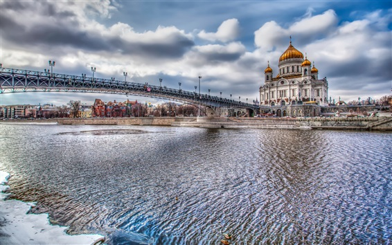 Wallpaper Moscow, Russia, river, bridge, buildings, HDR style