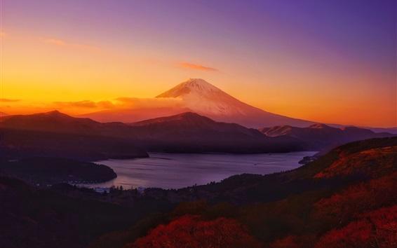 Wallpaper Mountain, clouds, lake, sunset
