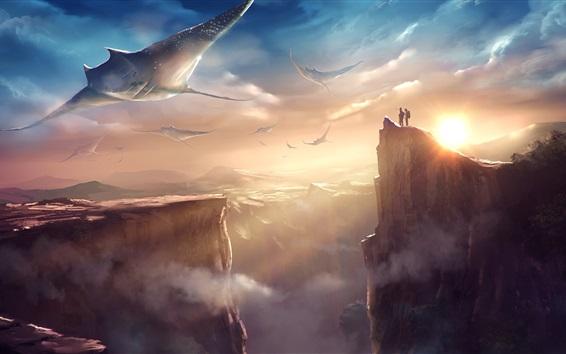 배경 화면 산, 물고기, 바위, 태양, 구름, 판타지 세계, 예술 그림