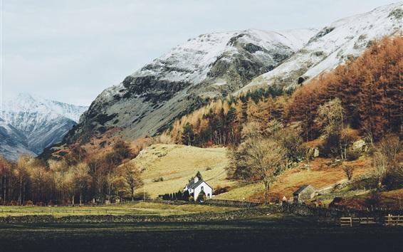 Обои Горы, дома, деревья, осень