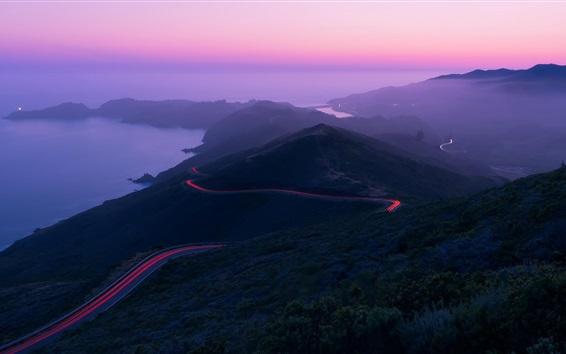 Fond d'écran Montagnes, route, lumière, mer, crépuscule