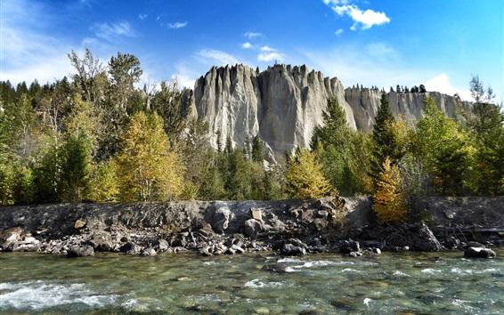 Wallpaper Mountains, rocks, trees, river, blue sky