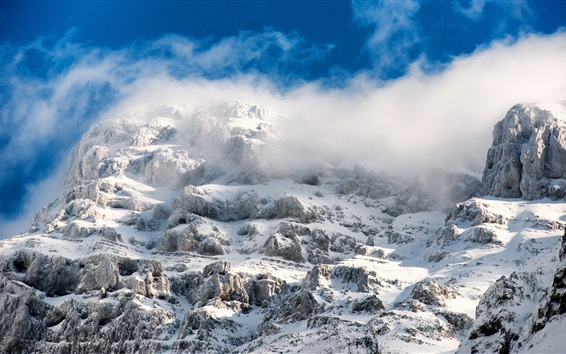 Wallpaper Mountains, snow, fog