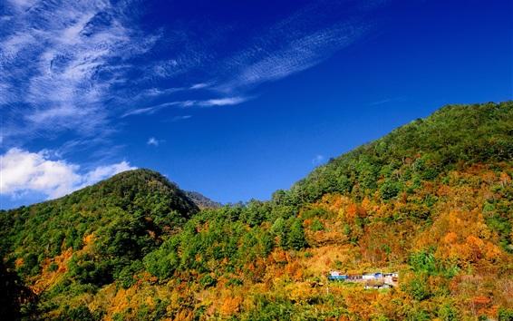 Fondos de pantalla Montañas, árboles, casa, cielo azul, otoño