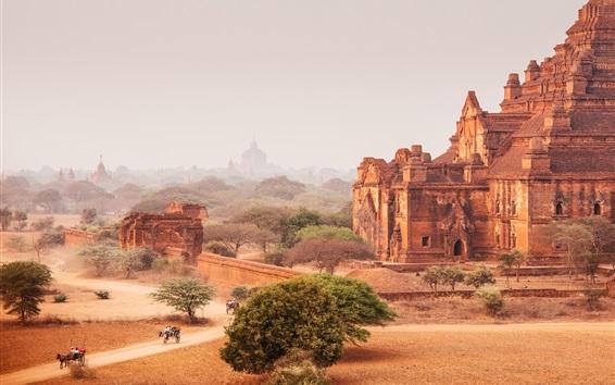 Wallpaper Myanmar, Bagan, temples, horse cart, dry, road, dust, trees
