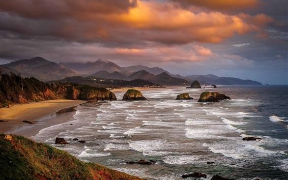 Обои Национальный парк, Орегон, США, море, скалы, пляж, облака, сумерки