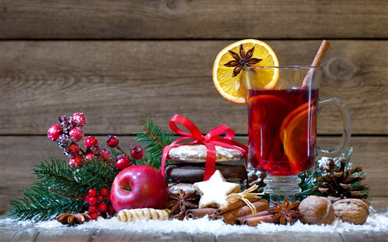 Wallpaper New Year, Christmas, decoration, apple, berries, nuts, drinks, orange