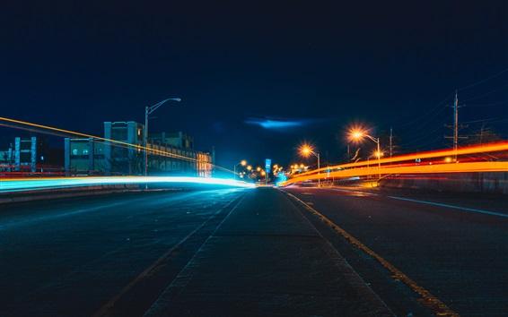Fondos de pantalla Noche carretera de la ciudad, las luces