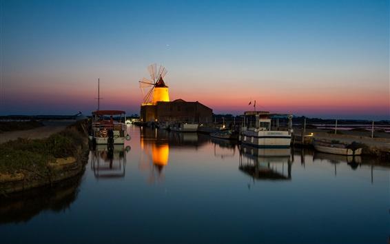Wallpaper Night, harbour, boat, sea, windmill