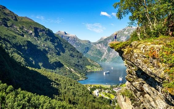 Wallpaper Norway, Geiranger Fjord, mountains, lake, boats, girl