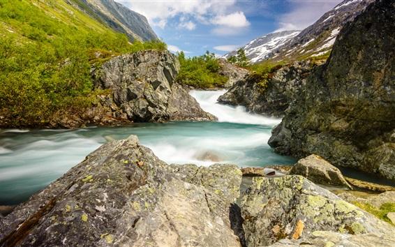 Fond d'écran Norvège, gorge, montagne, ruisseau, pierres