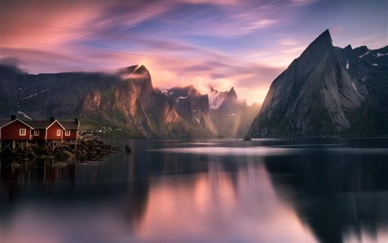 Fondos de pantalla Noruega, montañas, lago, fiordo, casas, nubes, salida del sol, mañana