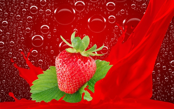 Wallpaper One fresh strawberry, bubbles