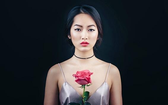 Papéis de Parede Oriental bela garota, retrato, maquiagem, rosa